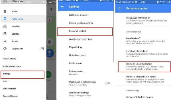 Delete all Google Location History