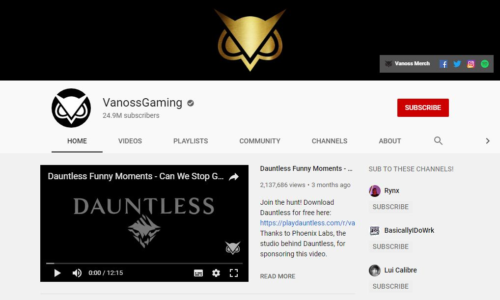 VanossGaming- Trends on youtube