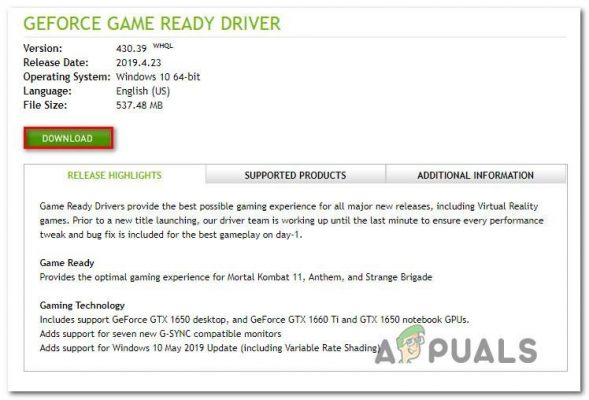 Downloading the latest GeForce driver