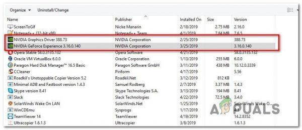Uninstalling NVIDIA component