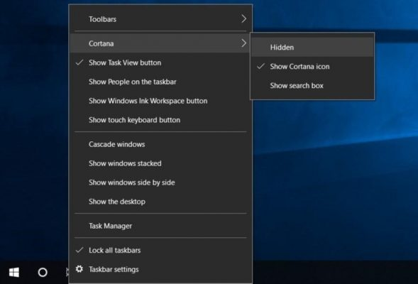 Hide Cortana in Windows 10