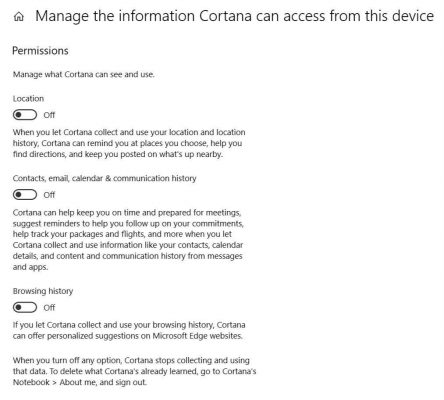 Manage the information Cortana can access from the device