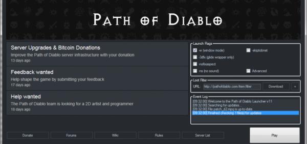 Path of Diablo launcher