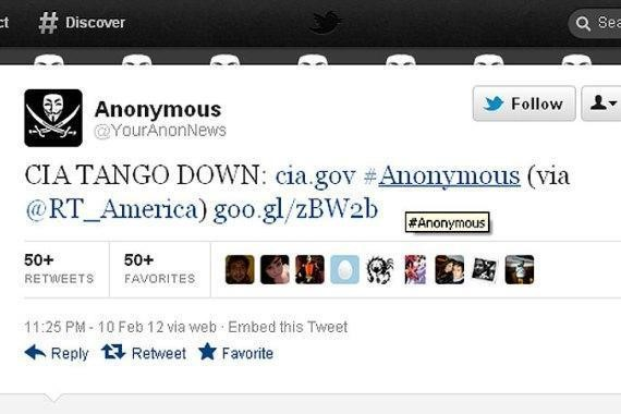 Tweet about CIA Website down