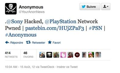 Tweet about Sony Hacked