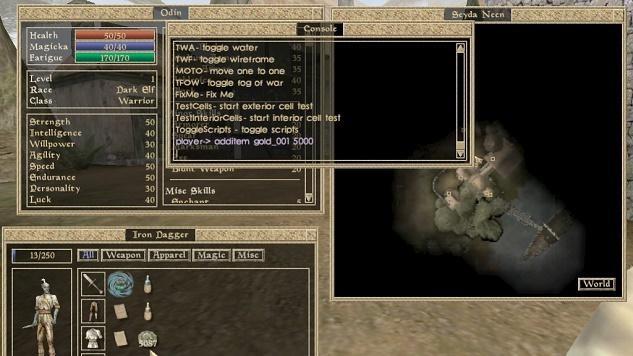 Morrowind Console Commands screen