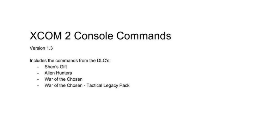Picture: XCOM 2 Console Commands